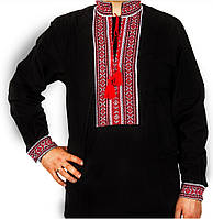 Мужская черная вышиванка , размер 44-56