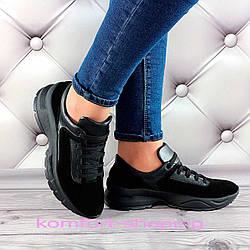 Женские кроссовки на шнуровке замша+кожа, черные  V 1381
