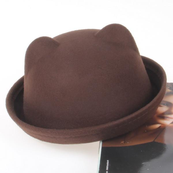 Шляпа женская фетровая котелок Кошечка с ушками коричневая