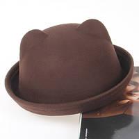 Фетровий капелюх жіночий казанок Кішечка з вушками коричнева, фото 1