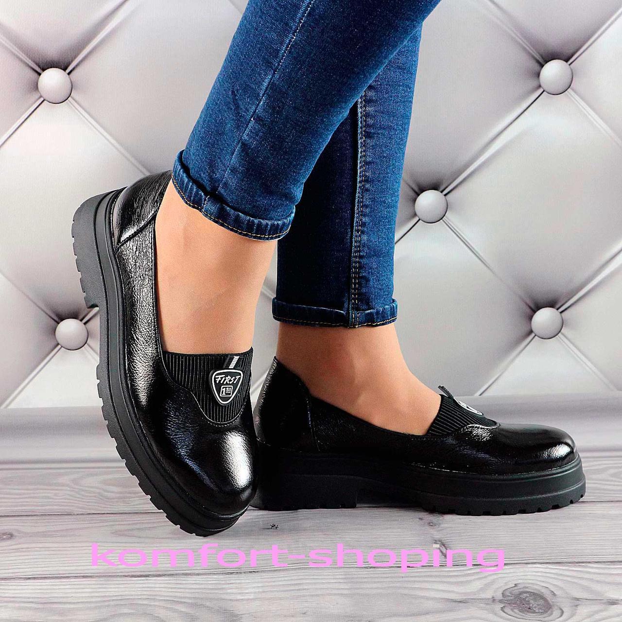 Туфли  женские черные, лаковые V 1378