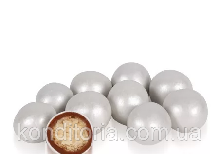 Бисквитные шарики в молочном шоколаде Серебро 15 мм