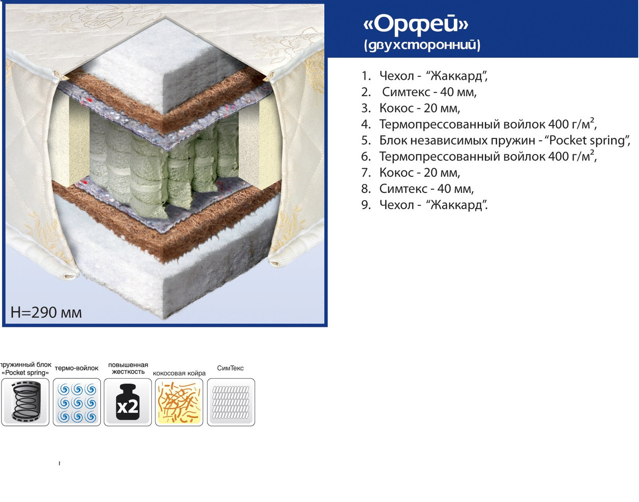 "Ортопедический матрас ""Орфей"" Pocket Spring"