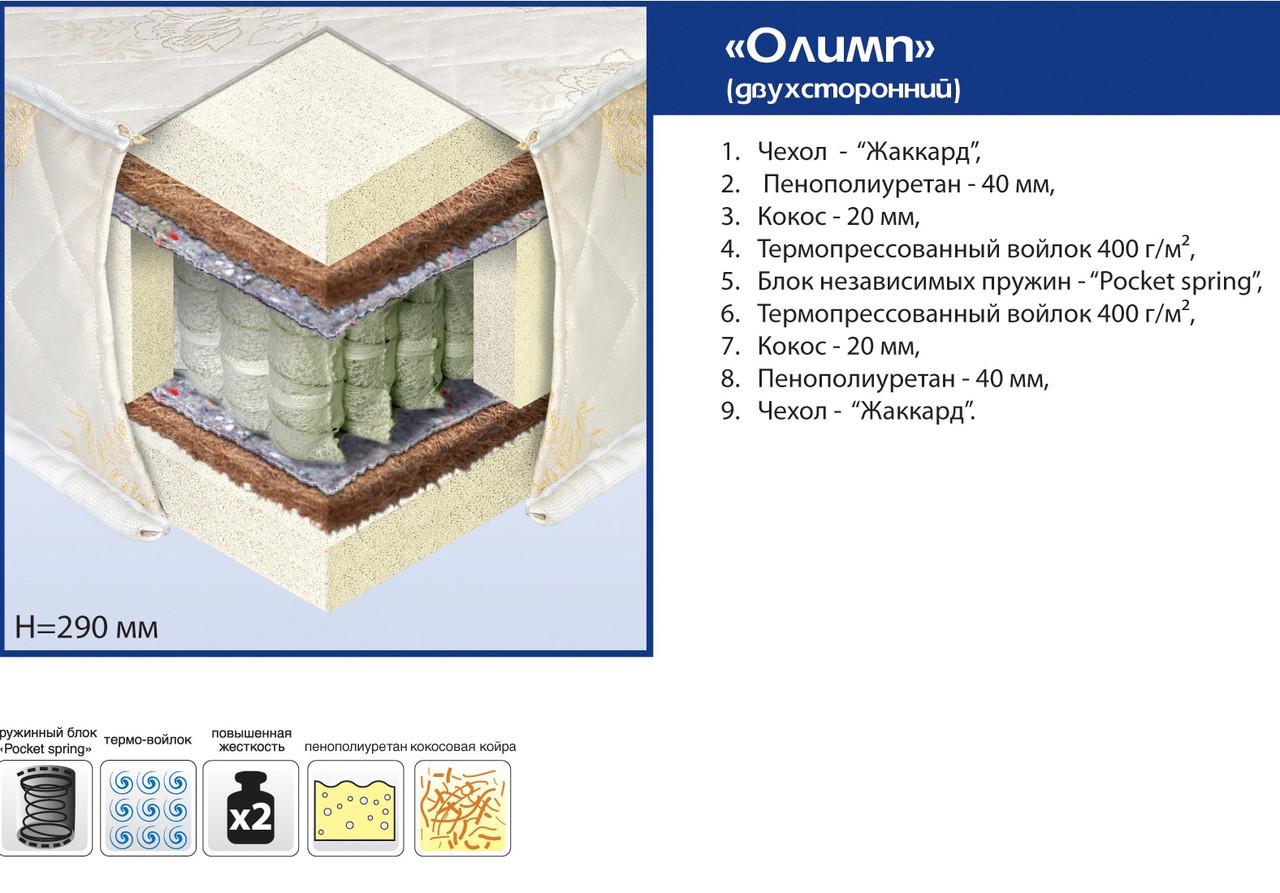 """Ортопедичний матрац """"Олімп"""" Pocket Spring"""