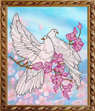 """Рисунок на ткани для вышивания бисером """"Верность (Голуби)"""", фото 2"""