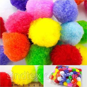(100шт, Ø4см) Помпоны, Ø37-40мм, разноцветные помпоны для творчества (сп7нг-7804)