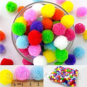(500шт, Ø2см) Помпоны  Ø18-20мм, разноцветные помпоны для творчества (сп7нг-7801)