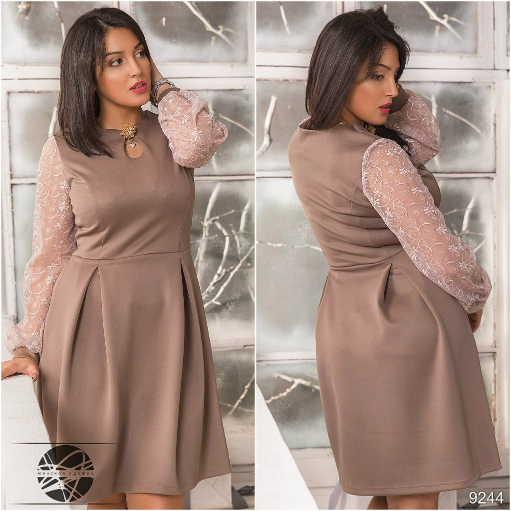 Д1023 Платье размеры 50-56 Бежевый