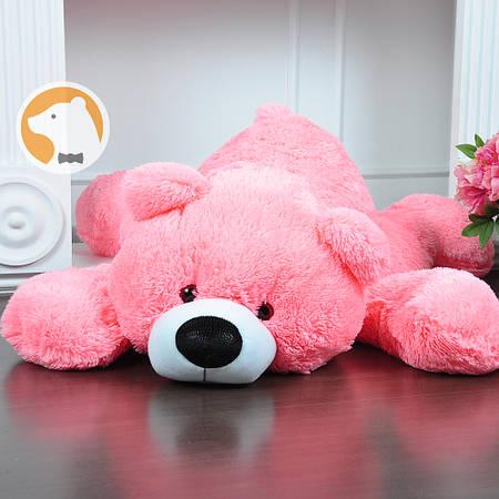 Плюшевый мишка Умка лежащий средний, 80 см, розовый