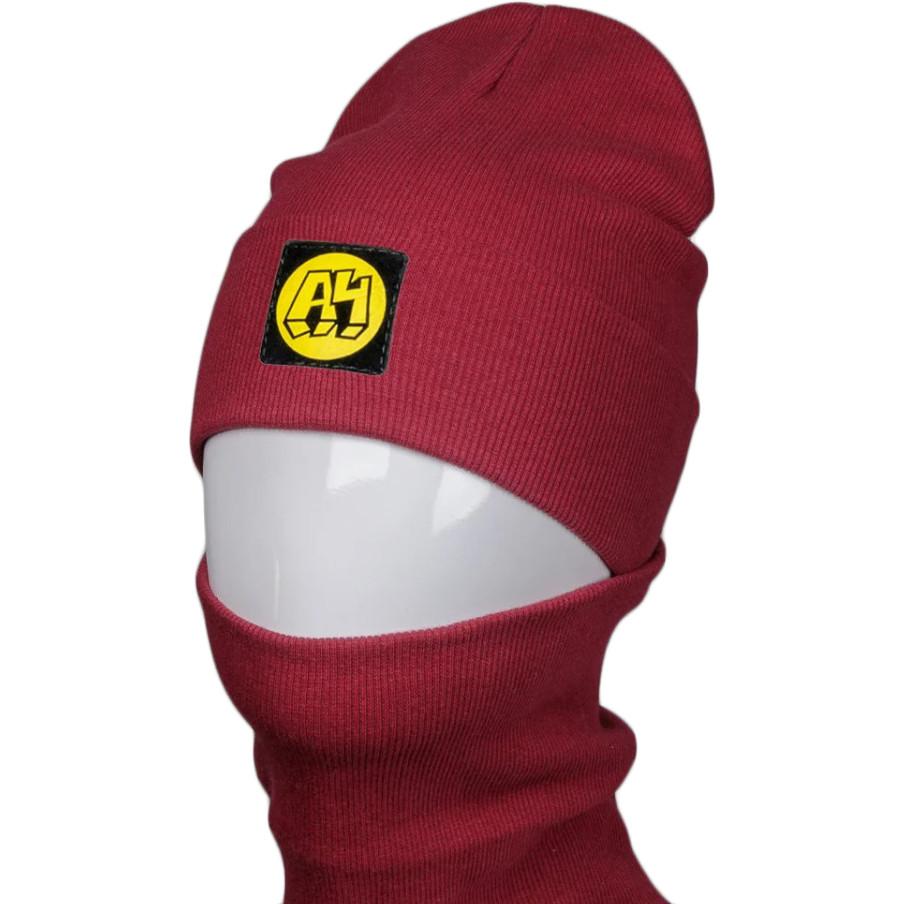 Дитяча і підліткова трикотажна шапка і баф (хомут) з нашивкою на весну / осінь, бордовий
