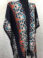 Женское теплое пончо с орнаментом и бахромой размер универсал