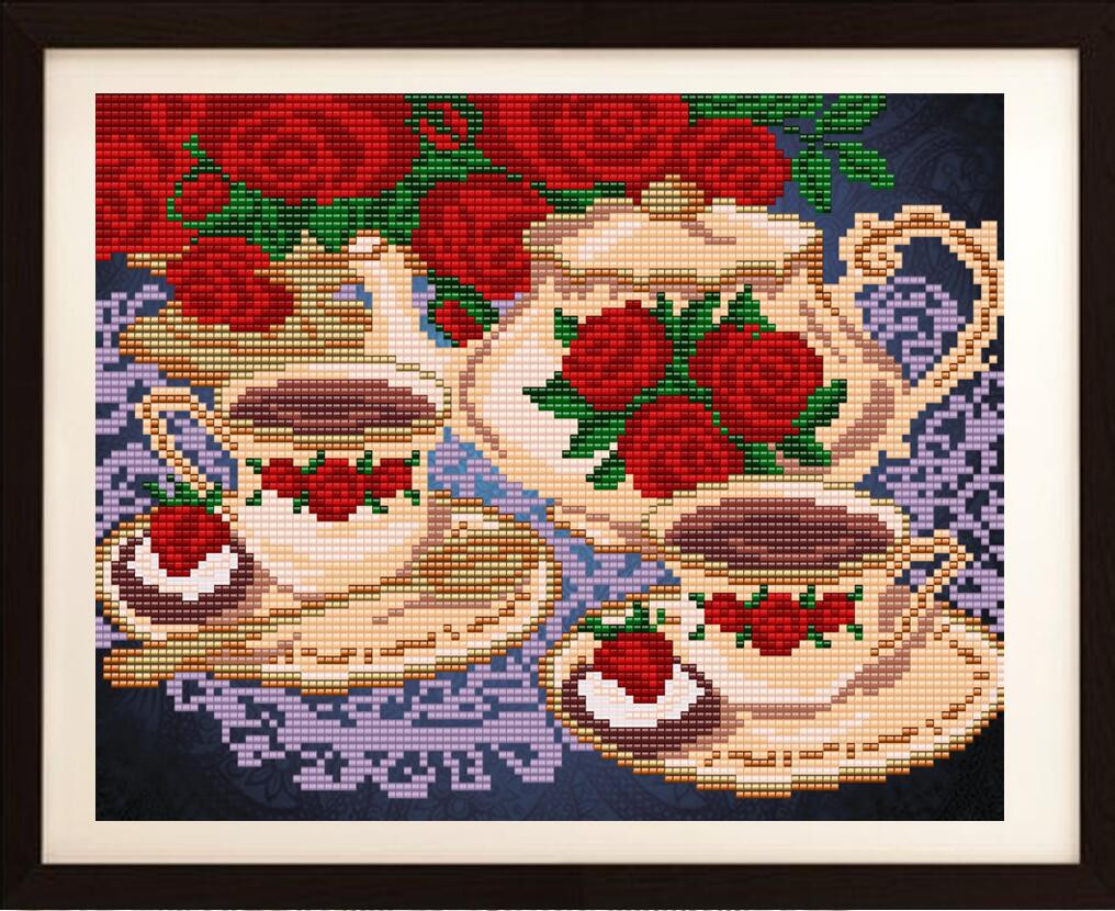 """Рисунок на ткани для вышивания бисером """"Чайный сервиз"""""""