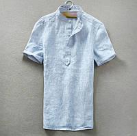 Лен рубашка мужская натуральная, цвет на выбор