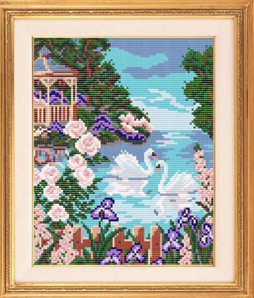 """Рисунок на ткани для вышивания бисером """"На озере"""""""