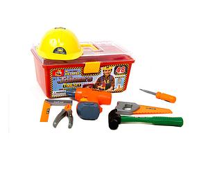 Детский набор инструментов с дрелью на батарейках и каской, 48 деталей