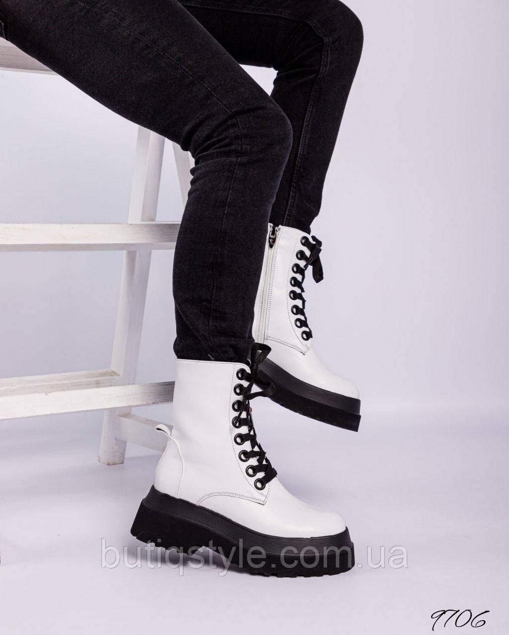 Женские белые ботинки натуральная кожа на шнуровке Деми