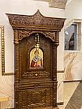 Підлоговий церковний кіот з вільхи з тонуванням під лак 310см, фото 2