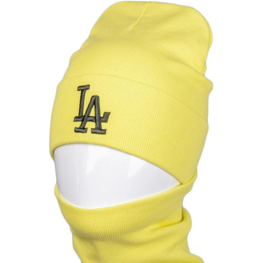 Дитяча і підліткова трикотажна шапка і баф (хомут) з вишивкою на весну / осінь, жовтий