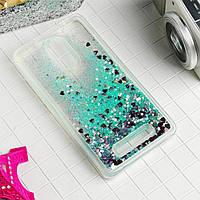Чехол Glitter для Xiaomi Redmi Note 3 / Note 3 Pro Бампер жидкий блеск Бирюзовый