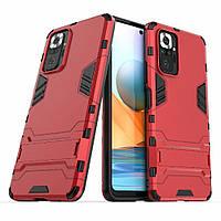 Чехол Iron для Xiaomi Redmi Note 10 Pro противоударный бампер с подставкой Red