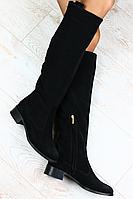 Женские зимние сапоги-ботфорды без каблука из натуральной замши