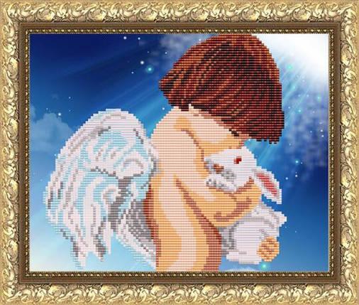 """Рисунок на ткани для вышивания бисером """"Ангел с кроликом"""", фото 2"""