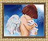 """Рисунок на ткани для вышивания бисером """"Ангел с кроликом"""""""