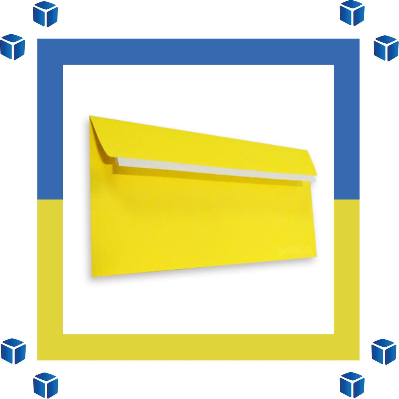 Конверты Е65 (DL) (110х220) скл, желтый (0+0)
