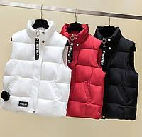 Женский осенне-зимний жилет куртка без рукавов оверсайз, фото 1