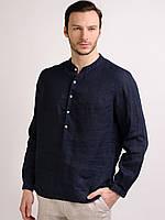 Рубашка льняная классическая , ворот может быть отложной по желанию, фото 1