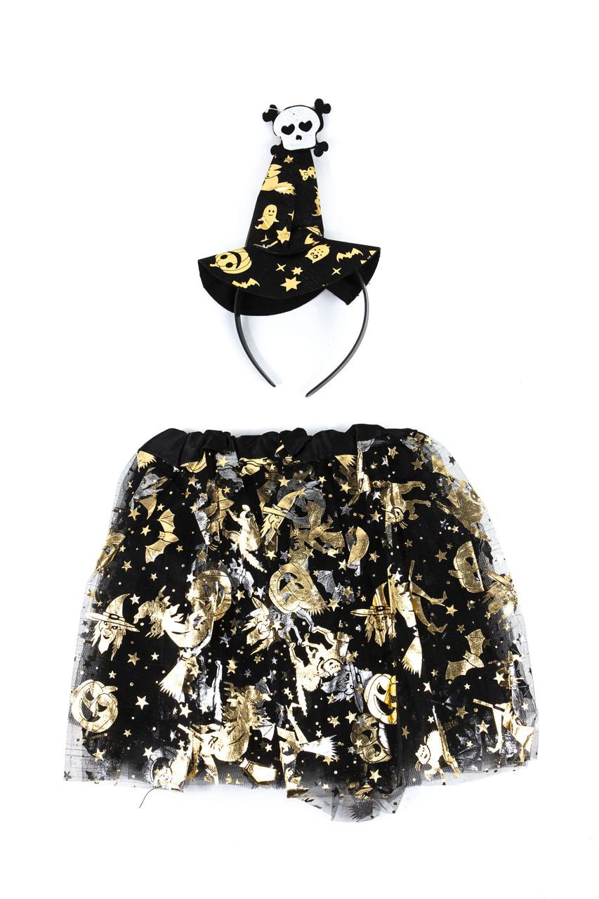 Костюм відьмочки для дівчинки (капелюшок обруч, спідниця)