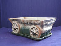 Вазон керамический тележка, фото 1