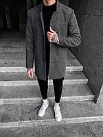 Мужское пальто осеннее молодежное (серое) стильная мужская одежда Plt13