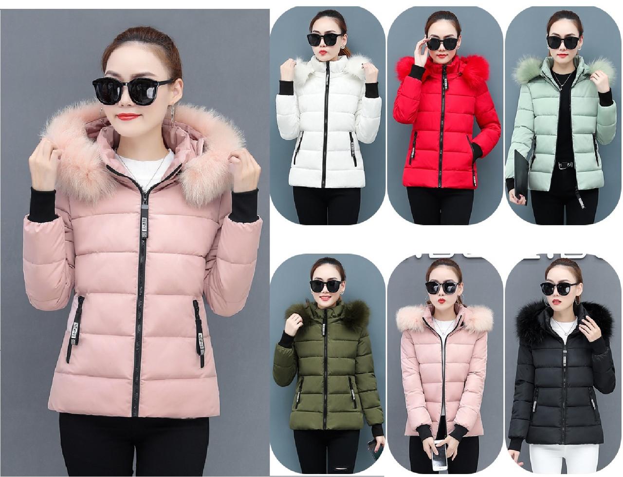 Коротка куртка зимова жіноча комір з хутром