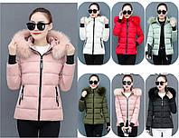 Коротка куртка зимова жіноча комір з хутром, фото 1