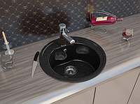 Круглая кухонная мойка MOKO ROMA Nero BRILLANTE на основе мрамора