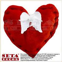 Подушка Сердце красное с крыльями белыми