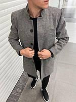 Мужское пальто осеннее молодежное (светло-серое) повседневная мужская одежда plt14
