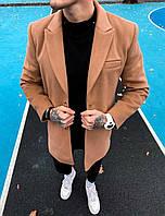 Мужское пальто демисезонное молодежное (бежевое) повседневная мужская одежда plt15