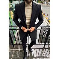 Мужское пальто демисезонное молодежное (черное) стильная мужская одежда plt17