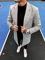 Мужское пальто демисезонное качественное (светло-серое) крутая мужская одежда plt19