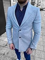 Пальто мужское осеннее весеннее серое однобортное на пуговицах короткое демисезонное Премиум качество Турция