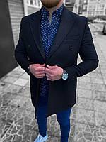 Пальто мужское осеннее весеннее черное двубортное на пуговицах короткое демисезонное Премиум качество Турция