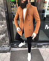 Пальто мужское осеннее весеннее терракот двубортное на пуговицах короткое демисезонное Премиум качество Турция