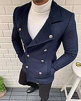 Пальто мужское осеннее весеннее двубортное синее на пуговицах короткое демисезонное Премиум качество Турция