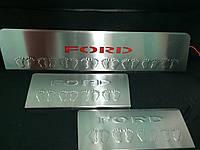 Ford Transit 2014+ гг. Накладки на пороги LED-красный (3 шт, нерж)