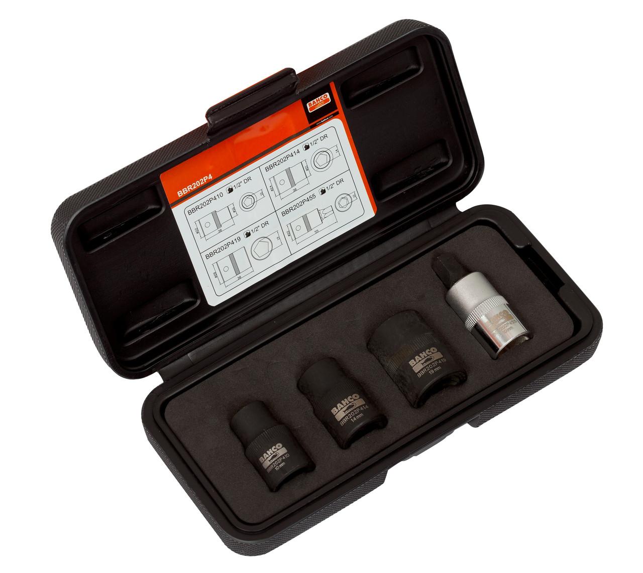 Набор пятигранных торцевых головок для ручного тормоза, Bahco, BBR202P4