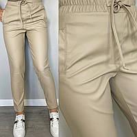 Стильні штани з еко-шкіри беж, фото 1