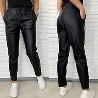 Стильные брюки из эко-кожи черные, фото 1