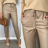 Стильные брюки из эко-кожи мокко, фото 1